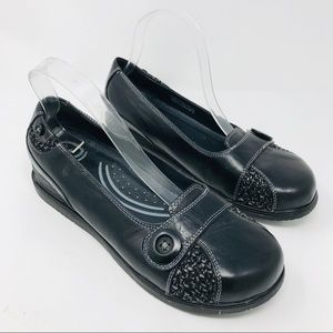 Dansko Black Button Euro Comfort Flats Shoes 39